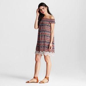 Tribal print off the shoulder dress