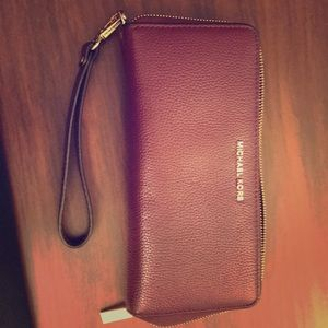 Burgundy and gold Michael Kors Travel Wallet