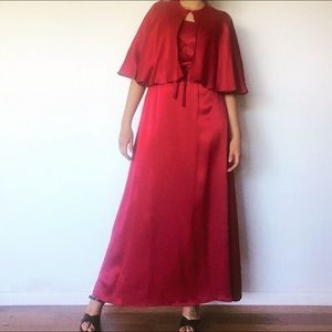 Vintage 70s Red Satin Maxi Dress w Cape S