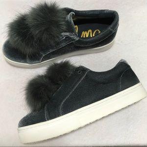 05530ac7506245 Sam Edelman Shoes - NIB Sam Edelman Leya Smoke Velvet Pom Pom Sneaker