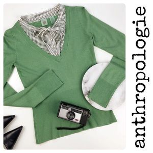 Anthropologie Monogram Sweater Green Layered XS