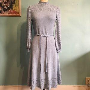 Vintage 1970's Pale Blue Sweater Knit Midi Dress