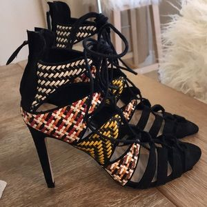 Lace-Up Multicolor Pattern Heels