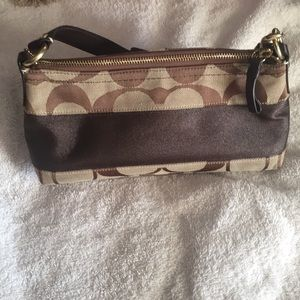 Coach Signature Brown Small Satchel Purse.