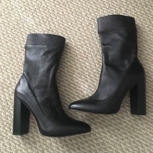ZARA Black Leather Sock Boots/ US Size 9