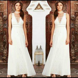 Lulu's white crochet maxi dress