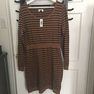 Old Navy sweater dress. Brown with black strips.