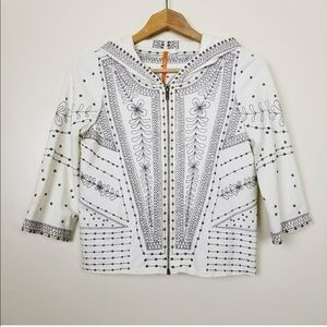 Anthropologie Embroidered Zip Up hoodie