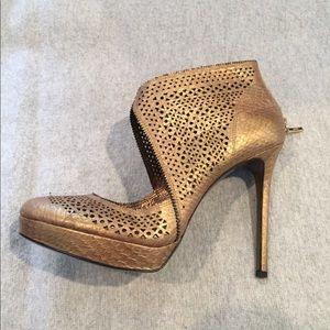 AERIN 'Sullivan' gold snake Booties, size 9.