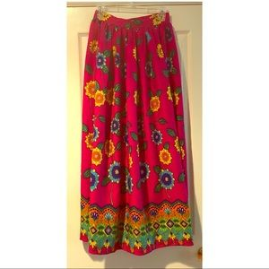 Bright colorful vintage floral maxi skirt
