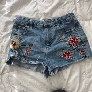 Topshop Embroidered Mom Jean Shorts