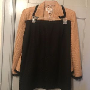 Talbots  currier suit Black and Tan 12 petite