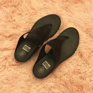 FitFlop Black Mesh Thong Sandals sz 8