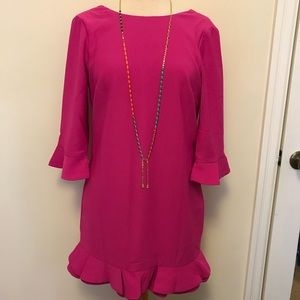 ASOS pink mini dress with bell sleeves