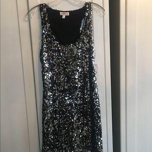 Black/Silver Sequin Jrs Party Dress Sz L.