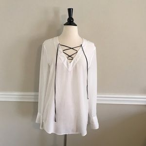 Equipment lace-up silk top size XS