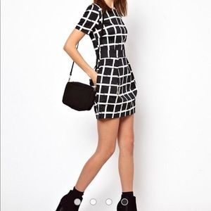FRENCH CONNECTION Black Paint Check Ritchie Dress