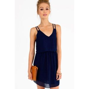 TOBI NAVY SQUARE ONE TANK DRESS S Strappy
