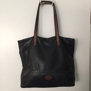Black and brown distressed leather tote - fossil