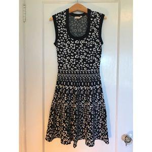 Rebecca Taylor knit black leopard print dress