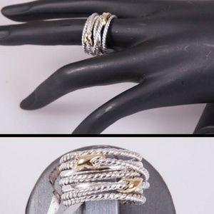 David Yurman Double X Crossover Ring. Size 5