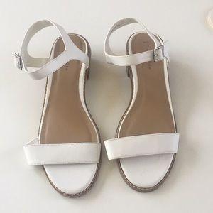 Zara White Sandals with Wood Block Heel Size 10