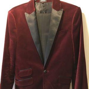 Express Men's velvet burgundy blazer 42r