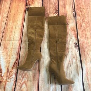 Over the knee camel brown pointy boots