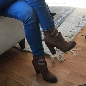 Funky distressed leather boots