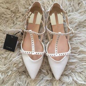 Zara Studded White Flats