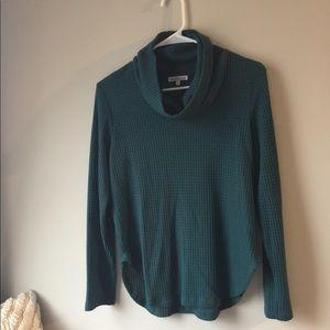 Green scrunch neck sweater