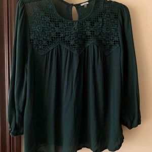 forest green 3/4 sleeve top