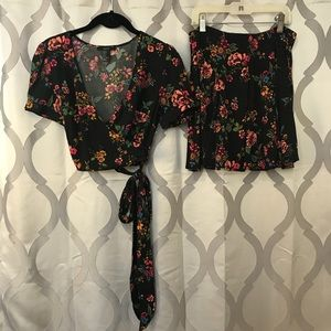 Black Floral Flirty Skirt & Wrap Crop Top Set NWOT