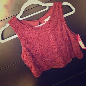 NWT Burgundy Lace Crop Top