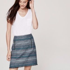 Loft tweed fringe pencil skirt