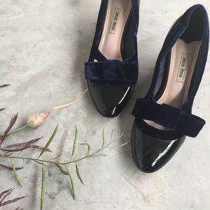 Miu Miu Patent Leather Velvet Bow Heels size 36