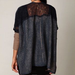 Free People Lace Inset Oversized Cardigan Sweater