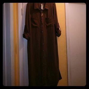 Long sleeve woven tunic