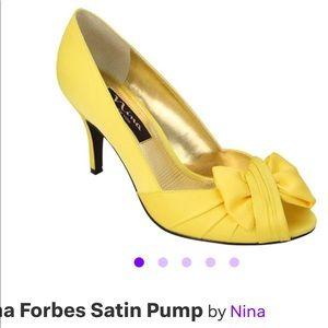 Yellow Satin Pump