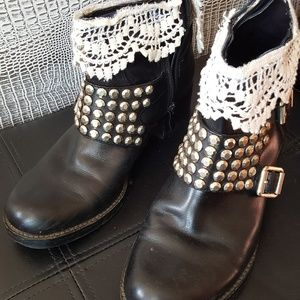 Moto boots upcycled with country lace