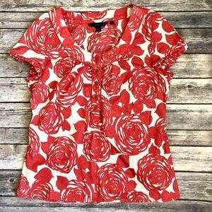 Boden • Vintage Rose Cap Sleeve Cotton Blouse