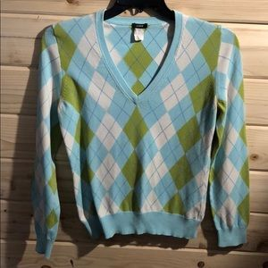 J. Crew Cotton Argyle V-Neck Sweater