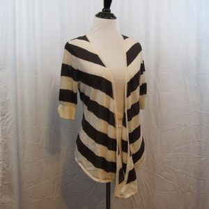 WHBM Cream Brown Open Front Cardigan S