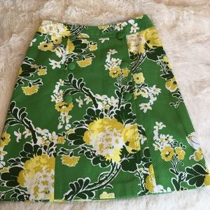 Talbots Green Skirt With Yellow Flowers
