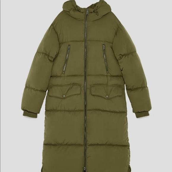 5623513b Zara Jackets & Coats | Long Oversized Puffer Coat Xs Khaki Green ...