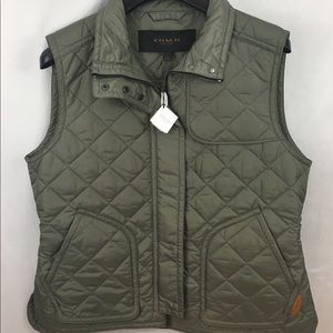 NWT Coach Military Green Quilted Vest