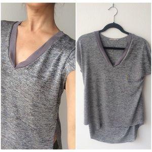 Zara silver, V-neck shirt