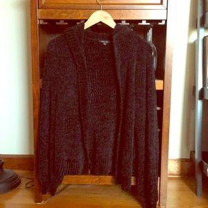 Black chenille open cardigan sweater