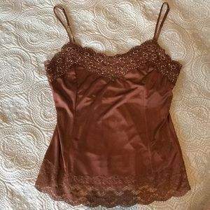 The Limited Brown Embellished Lined Tank Top
