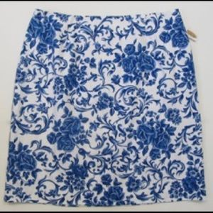 NWT Talbots Floral Cotton Skirt  14